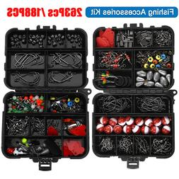 263/188Pcs Fishing Accessories Kit Set with Tackle Box Plier