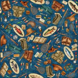 Fresh Catch By Quilting Treasures - Navy Fishing Equipment