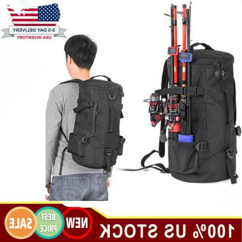 large capacity fishing backpack tackle and rod