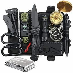 Real camping kit for men , Survival Gear Equipment 14 in 1 F