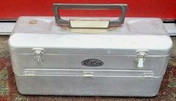 Vintage Old Pal Aluminum Fishing Tackle Box w/Lures Six Fold